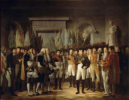 Napoleon receives the delegates of the Senat conservateur at the Stadtschloss, Berlin, November 19, 1806 (painting by Rene Theodore Berthon, 1808). Berthon - Napoleon Ier recoit au Palais Royal de Berlin, les deputes du Senat francais, le 19 novembre 1806.jpg