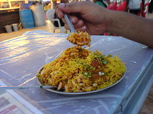 Typical Bombay snack food at one of Bombay's t...