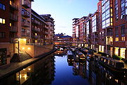 Birmingham canalside apartments at dusk