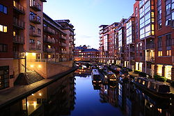 Birmingham canalside apartments at dusk.jpg