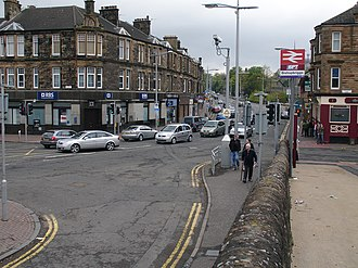 Bishopbriggs - View of Bishopbriggs Cross looking north along Kirkintilloch Road from the junction with Crowhill Road.