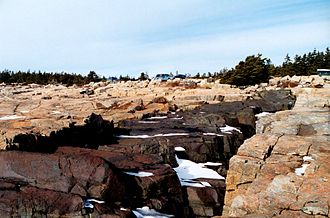 Schoodic Peninsula - Ancient magma flows formed this black dike at Schoodic Head.