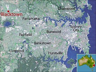 Blacktown - Location map of Blacktown based on NASA satellite images