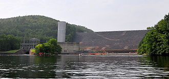 Lake Ouachita - The Downstream side of Blakely Mountain Dam as photographed from the river in July 25, 2009