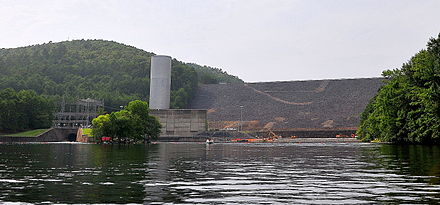 The Downstream side of Blakely Mountain Dam as photographed from the river in July 25, 2009 Blakely Mountain Dam near Hot Springs and Lake Ouachita, Arkansas.JPG
