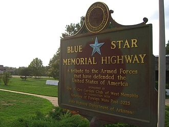 Interstate 40 in Arkansas - In West Memphis, Arkansas, Interstate 40 is designated as a Blue Star Memorial Highway.