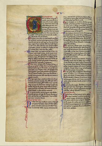 Uc de Saint Circ - The page with Uc's vida and some examples of his poetry