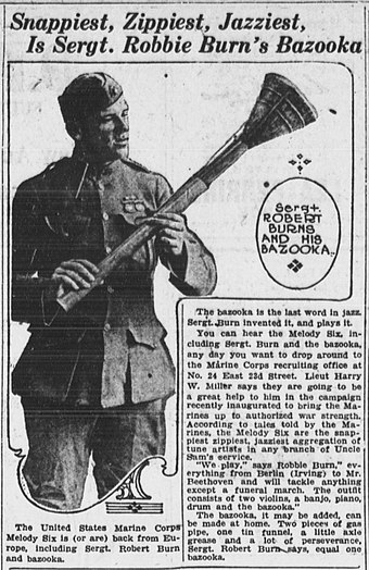 """Robbie Burn's Bazooka"" in The Evening World, New York, September 3, 1919"