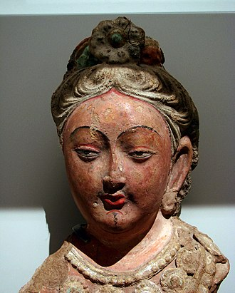 Tang campaign against Kucha - Bust of a bodhisattva from Kucha, 6th-7th century.