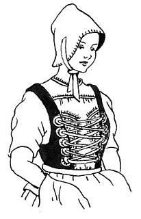 type of clothing for women and girls, traditional tight-fitting sleeveless garment for the torso and bust; later, the portion of a dress that covers the upper body