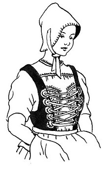Line art drawing of a bodice
