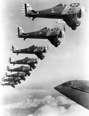 Boeing P-26 Peashooter - Formation of nine Boeing P-26s of the 20th Pursuit Group