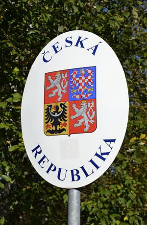 Border sign of the Czech Republic in Nové Údolí.