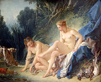 Aradia, or the Gospel of the Witches - François Boucher's nude Diana Leaving Her Bath.  The goddess is wearing a crescent moon crown.