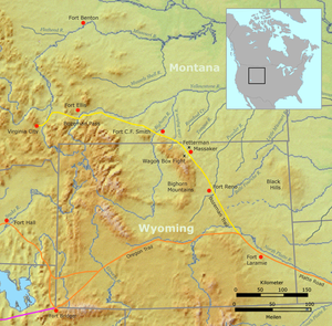 Fetterman Fight - The Bozeman trail and the location of the Fetterman Fight.