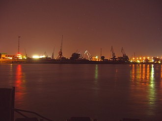 Inland port - Port of Bratislava at night