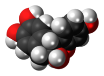 Space-filling model of the brazilin molecule