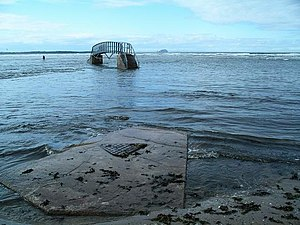 Bridge to nowhere, Belhaven Bay. At high tide ...