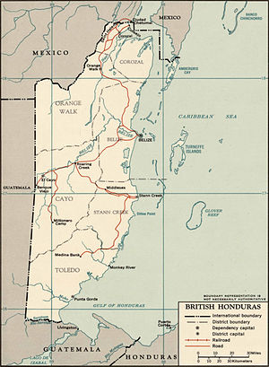 British Honduras - 1965 map of British Honduras