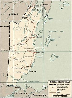 British Honduras - 1965 map of British Honduras