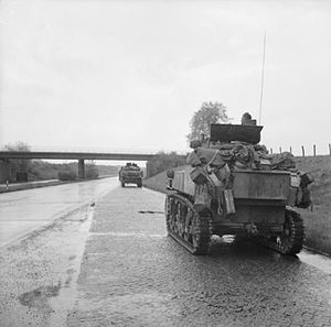 3rd Royal Tank Regiment - Stuart tanks of 3rd Royal Tank Regiment, 11th Armoured Division, drive along an autobahn towards Lubeck, 2 May 1945