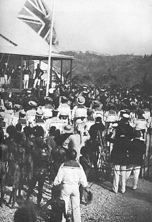 Port Moresby - Queensland raises the British flag at Port Moresby in 1883
