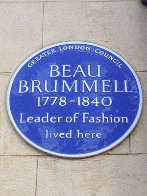 Chesterfield Street - Beau Brummell blue plaque at No. 4