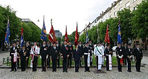 Buekorps - Representatives of the different buekorps brigades in 2005.