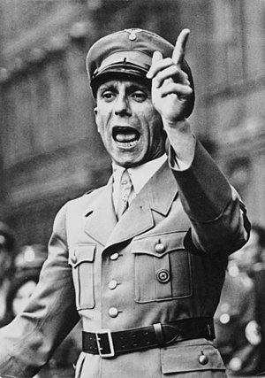 Themes in Nazi propaganda - Joseph Goebbels, the head of Nazi Germany's Ministry of Public Enlightenment and Propaganda.