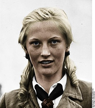"""Blond - Propaganda in Nazi Germany often featured people with blond hair and blue eyes, said to embody features of a """"master race""""."""