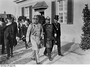 Kaiser Wilhelm Society - Opening of the Kaiser-Wilhelm-Institut in Berlin-Dahlem, 1913. From right: Adolf von Harnack, Friedrich von Ilberg, Kaiser Wilhelm II, Carl Neuberg, August von Trott zu Solz