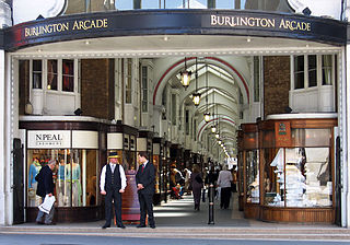 covered shopping arcade in London, England