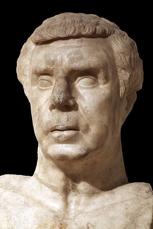 Lucius Munatius Plancus - Bust of Plancus symbolising Roman philosophy. The bust has been said to show evidence of hemiplegia. Found in 1823 near the Jardin des Plantes and the amphitheatre of Lyon. On display at the Gallo-Roman Museum of Lyon.