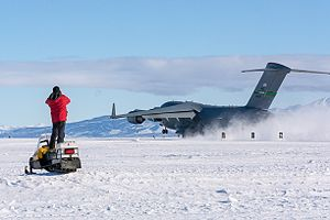 Phoenix Airfield - C-17 tests Phoenix snow runway for wheeled aircraft