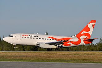 Air Inuit - One of Air Inuit's two Boeing 737-200s, at Val-d'Or Airport.