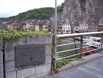 Charles de Gaulle - A plaque in Dinant commemorating the place where Charles de Gaulle, then an infantry lieutenant, was wounded  in 1914