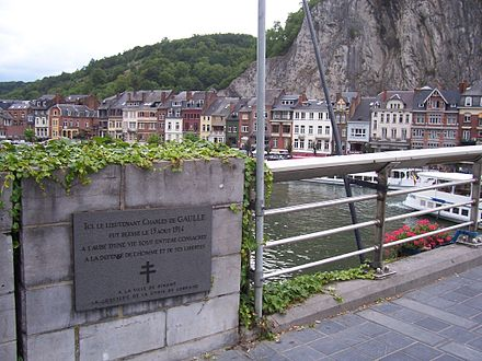 A plaque in Dinant commemorating the place where Charles de Gaulle, then an infantry lieutenant, was wounded in 1914