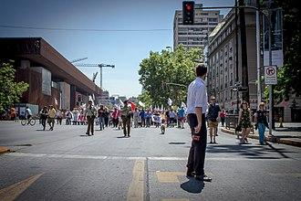 CNN Chile - CNN Chile covering a strike march in Santiago November 2016