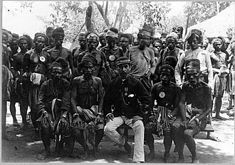New Imperialism - Colonial government official J. Rozet, an Indo Eurasian, in negotiation with tribal chiefs (Roti Islanders), Pariti, Timor, 1896.