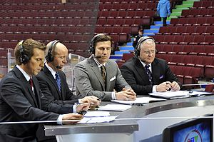Canada's Olympic Broadcast Media Consortium - The Consortium's studio panel for men's hockey, at Canada Hockey Place (from left: James Duthie, Darren Pang, Nick Kypreos, and Bob McKenzie)