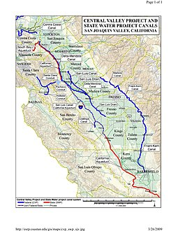 Central Valley Project Wikipedia - Us Map San Joaquin Valley