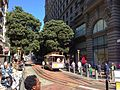 Cable car leaving turntable at Market Street.JPG