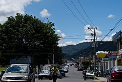 One of the main streets in downtown Desamparados