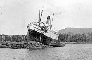Camosun (steamship) - Camosun ashore on Digby Island, March, 1916.
