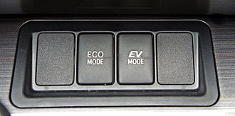 Hybrid Synergy Drive - EV mode button in the 2012 Toyota Camry hybrid.