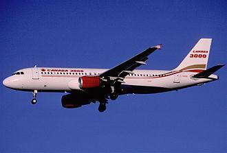 Canada 3000 - A Canada 3000 Airbus A320 landing (2000)
