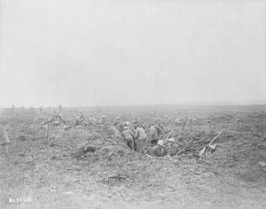 Canadian reserves dig in under shell fire during Battle of Vimy Ridge.jpg