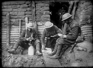 Military history of Canada during World War I - Canadian soldiers resting in a trench