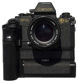 Canon New F-1 - New F-1 Los Angeles Olympics Edition, with added Motor Drive/Power Pack FN and 50 mm f/1.4 lens.