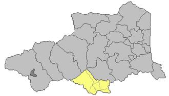 Canton of Prats-de-Mollo-la-Preste - Location of the canton in Pyrénées-Orientales